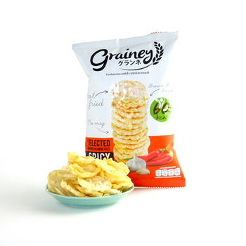 Halal Rice Cracker from brown jasmine rice Thai snack BBQ flavor