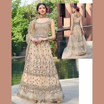 eee6fb23da Designer Wedding Wear Heavy Embroidery Work Abaya Style Net Anarkali Suits  Collection