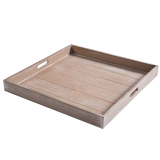 Large Shabby Chic Square Wood Serving Tray for Breakfast in Bed