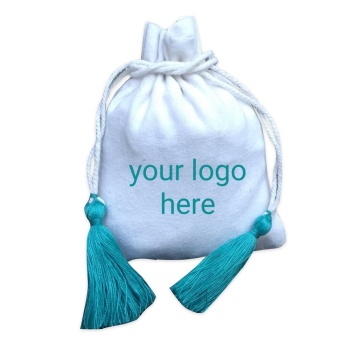 Turquoise tassels cotton jewelry pouches white custom logo coin bags wholesale