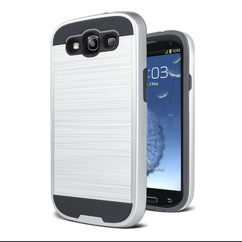 Hybrid shockproof cover brushed metal case for samsung galaxy S3 S4 S5