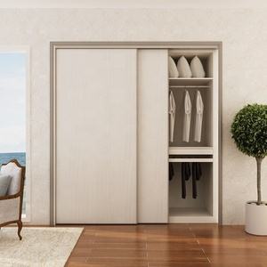 Cambodia Project 5 star Hotel Modern Bedroom White closet Simple Sliding Doors Wardrobe