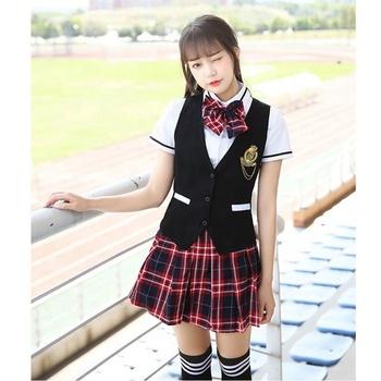 5b16afce18 Waistcoat And Plaid Skirt Uniform For High School Girls - Buy Korean ...
