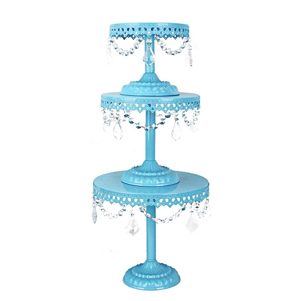 Best Welcome Fashion Blue Cake Stand Cheap Price Single Cake Stand For Wedding Decor