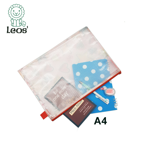 2019 OEM Mode Beauty Ontwerp Promotie Canvas Rits A4 Document Mesh PVC Waterdichte Zip-Lock Bag