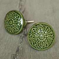 Green Ceramic Shabby Chic Cabinet Knobs Drawer Pulls Dresser Knobs Door Knobs
