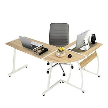 China popular Latest design freestanding L-shaped office desk with side table