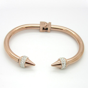 Stainless Steel Silver Golden Rose Plated Rivet Spike Nail Spring Hinge Inlaid Crystals Bracelet Bangle