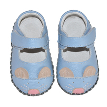 Handgemaakte licht gewicht leather soft sole animal blauwe mary <span class=keywords><strong>jane</strong></span> baby girl schoenen