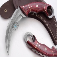 HAND MADE DAMASCUS STEEL KARAMBIT KNIFE WITH WOOD HANDLE AND SHEATH