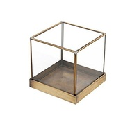 jewelry display glass box in gold