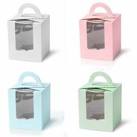 OEM ODM Single Cupcake / Muffin / Fairy Cake Box With Clear Window Gift Box