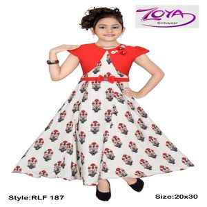 GIRLS' COTTON LONG PRINTED GOWN FLAIR SLEEVE BOW ON WAIST PARTY DRESS