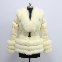 New Arrival Down Coat Real Fur Hood Dyed Color Winter Women Down Jacket