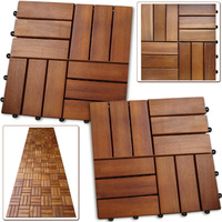 Easy-to-assemble Acacia Interlocking Deck Tiles for gardening, balcony, swimming pool decoration