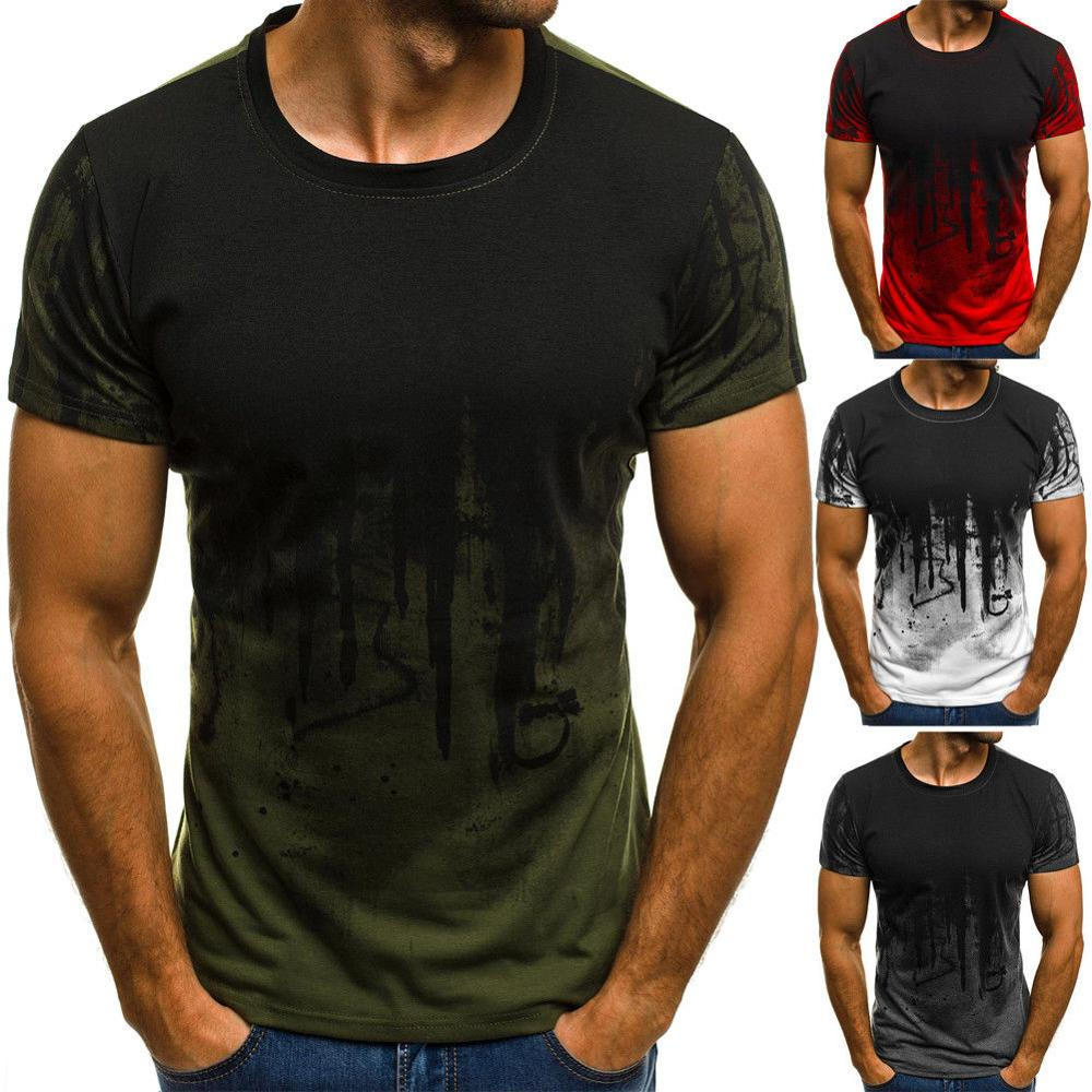 Heren T-shirt Slim Fit Casual T-shirt Tops Zomer Kleding Bodybuilding Spier Tee