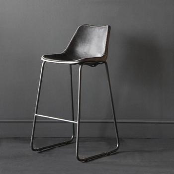 Industrial Bar Stool- Road House Black Bar Stool Leather Seat