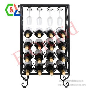 16 Bottles Wine Rack Table with Glass Holder, Free Standing Cellar Wine Storage Rack, Liquor Display Shelves