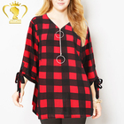 Women's Ring Zip Up V Neck 3/4 Rolled Sleeve Casual Plaid Tunic Shirt for women