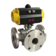 COVNA DN150 6 inch 3 Way Double Flanged Stainless Steel Ball Valve with Pneumatic Actuator