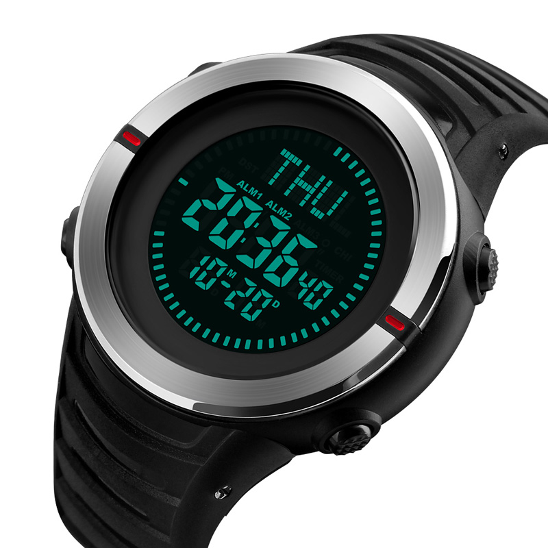 Watches Capable Skmei 1354 Compass Calorie Digital Wristwatch Men Outdoor Sport Military Design Electronic Lcd Clock Countdown Relogio Masculino Fashionable And Attractive Packages