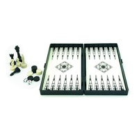 3 in 1 Magnetic Folding Double Faced Chess Game, Checker, Backgammon Game Set