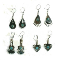 Tribal Cow Horn Earrings Dark Color Green-Blue Stones Bull Small Peruvian Handmade Jewelry Wholesale