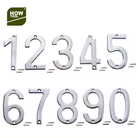Flush Mount Chrome House Door Number Plates