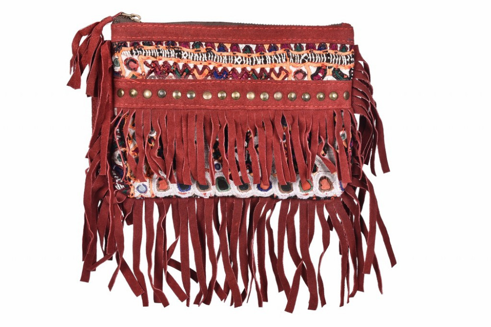 Ethnic Indian Leather Fringe Handbags Desinger Embroidered Handbags Woman Hand Clutch