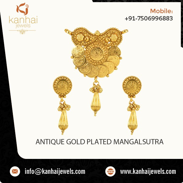 Latest Designer Gold Plated Traditional Indian Mangalsutra, Antique Gold Plated Mangalsutra Wholesale in India