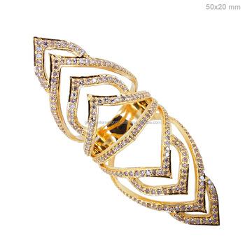 Latest Design Gold Jewelry 18k 750 Yellow Gold Pave Diamond Long
