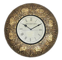 "12"" Brass Antique Wall Clock with Elephant Design(FWC-1001)"