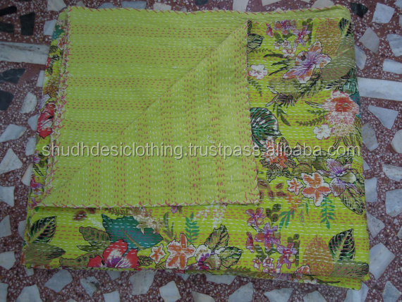 India home beadspread kantha quilts