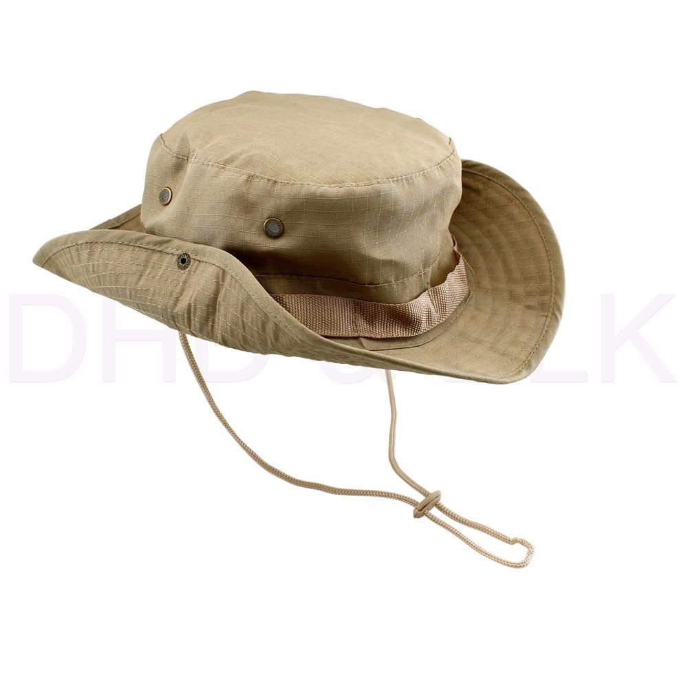 d098a618be5 Boonie hunting fishing outdoor men cap washed cotton bucket hat with strings