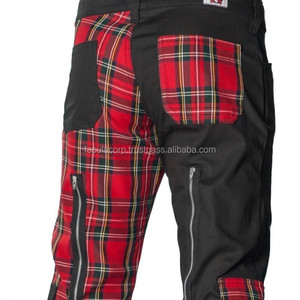 2016 Gothic Black gothic Men's Freak pants 2015 tartan red cotton goth material Fashion FC-4709