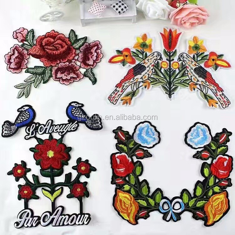 Hot melt adhesive clothing patch embroidery patch lettering embroidery patches with cotton picuures