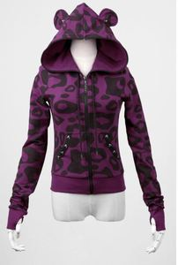 Women's Punk Rave pink zippered hoodie with hood and ears PY-022