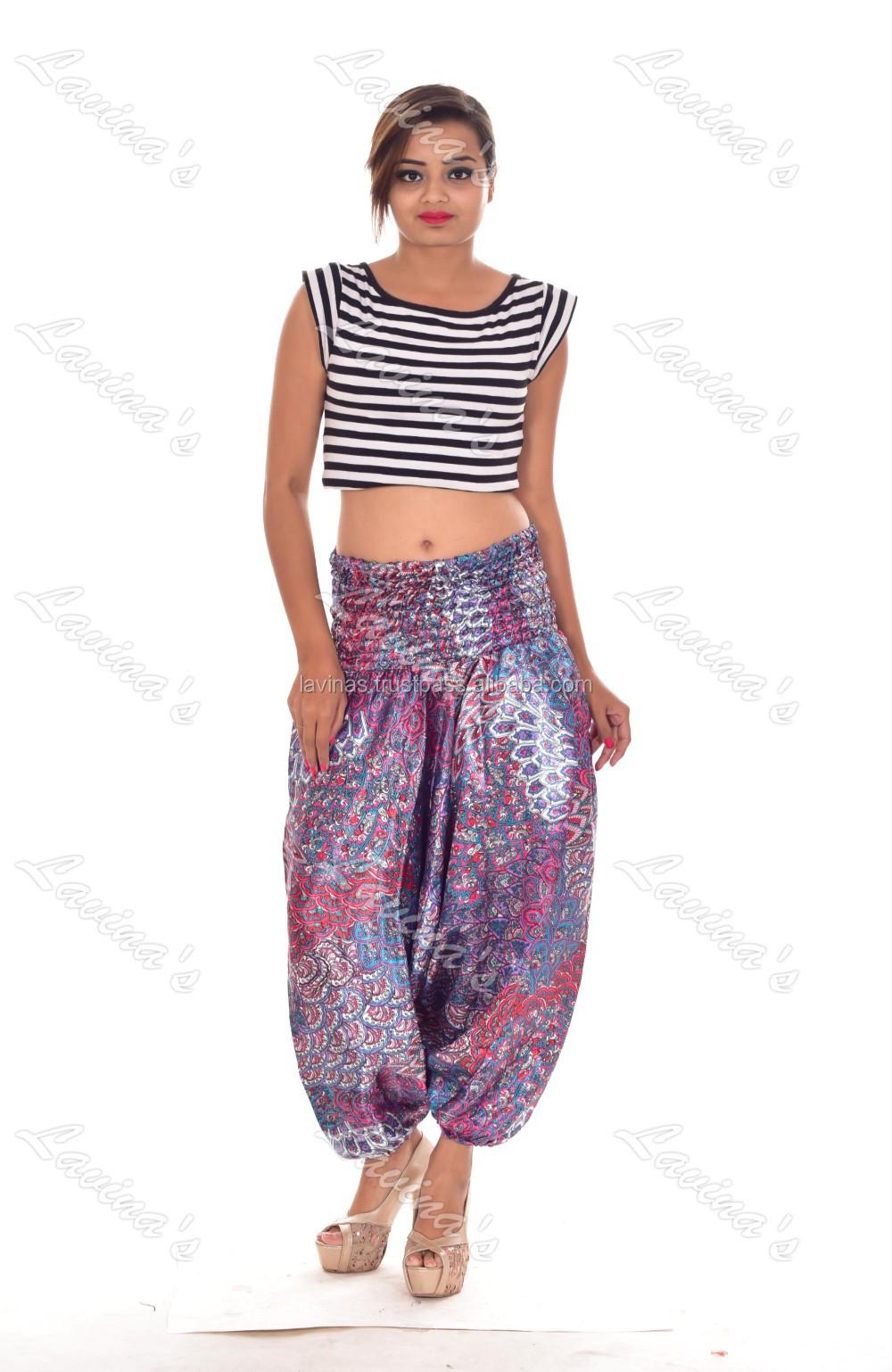 2a47221b2c9a Women Satin Yoga Pants Casual Hippie Boho Trousers Genie Alibaba ...