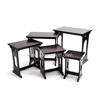 Solid Wood Five Nesting Tables Set,Living Room Coffee Tables,Corner ...