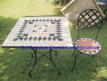 Garden Furniture Mosaic square mosaic black table & round chair garden sets outdoor