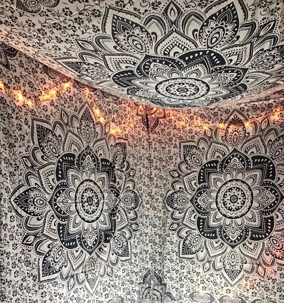 Large Exclusive Black And White Organic Cotton New Ombre Mandala Tapestry Wall Hangings By Raajsee