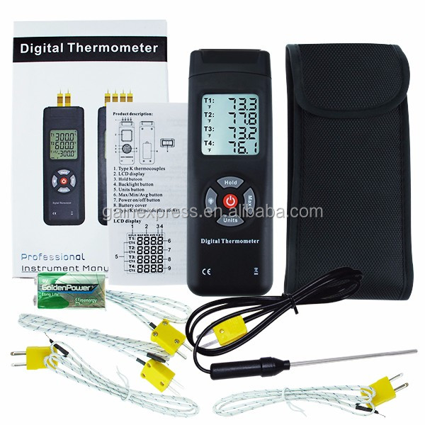 K-Type Digital Thermocouples Thermometer with 4 Channel K-Type Metal & Bead Probe Temperature Instrument with Backlight