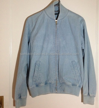 Vintage Blue Denim Bomber Jacket For Men Light Blue Denim Jacket