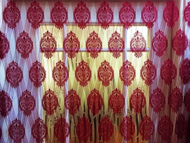 Damask String Tassel 300x280 cm Window Room Curtain Polyester