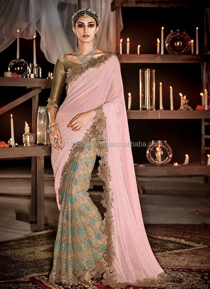 Último Diseño Sari De La Boda Colección-doble Del Color Diseñador ...