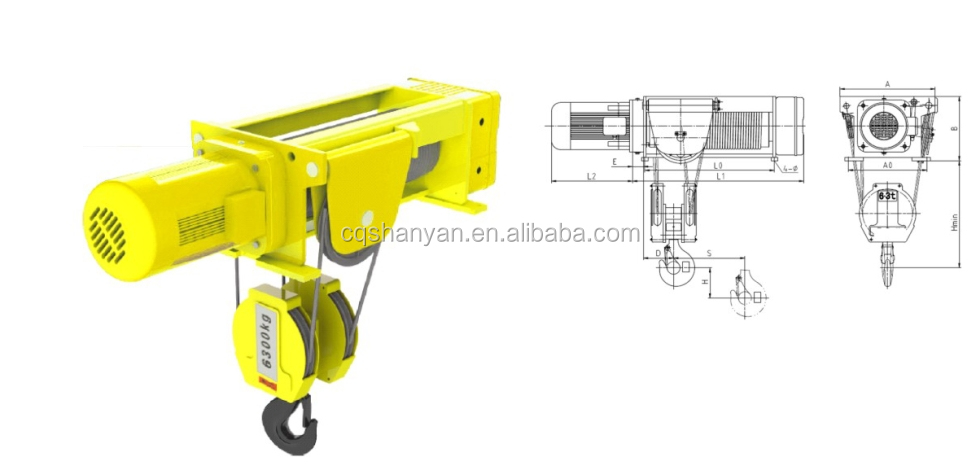 Crane Lifting Tools Shs Fixed Electric Wire Rope Hoist(4/1 Reeving ...