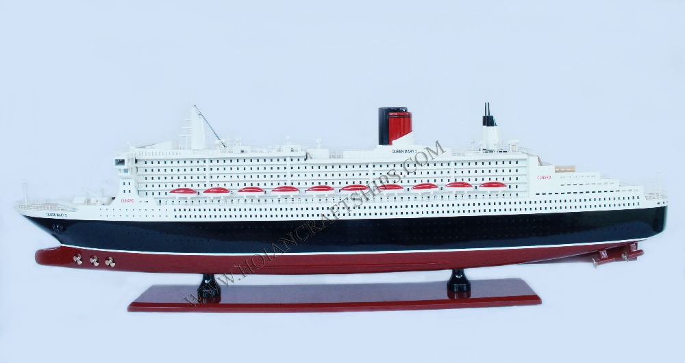 QUEEN MARY 2 MODEL CRUISE SHIP - HANDICRAFT PRODUCT, UNIQUE DECORATION