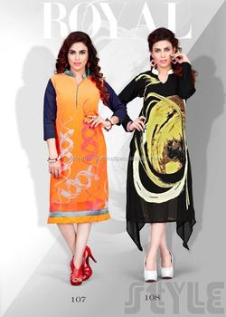 Black And Orange Kurtis Geo 2 Kurti Western Kurti Designs Lady