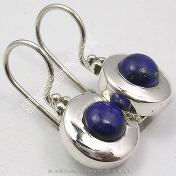 925 solid sterling silver blue lapis lazuli earrings engagement jewelry