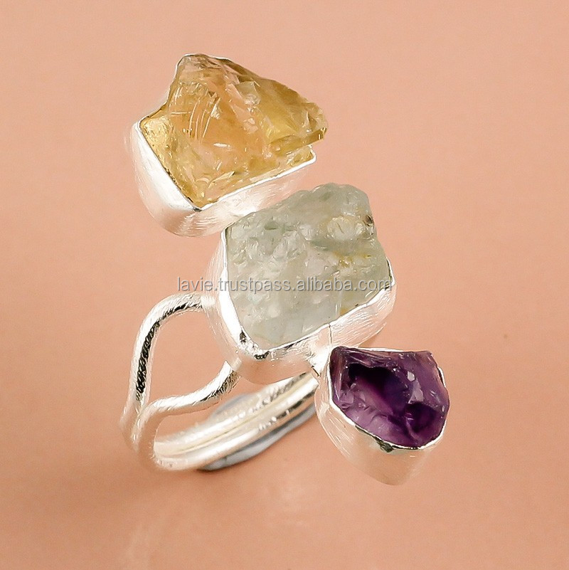 925 Sterling Silver Ring,Natural Rough Amethyst,Aquamarine,Citrine ...
